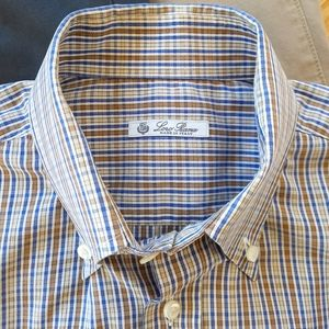 Loro Piana Twill Plaid Button Down Shirt Cotton
